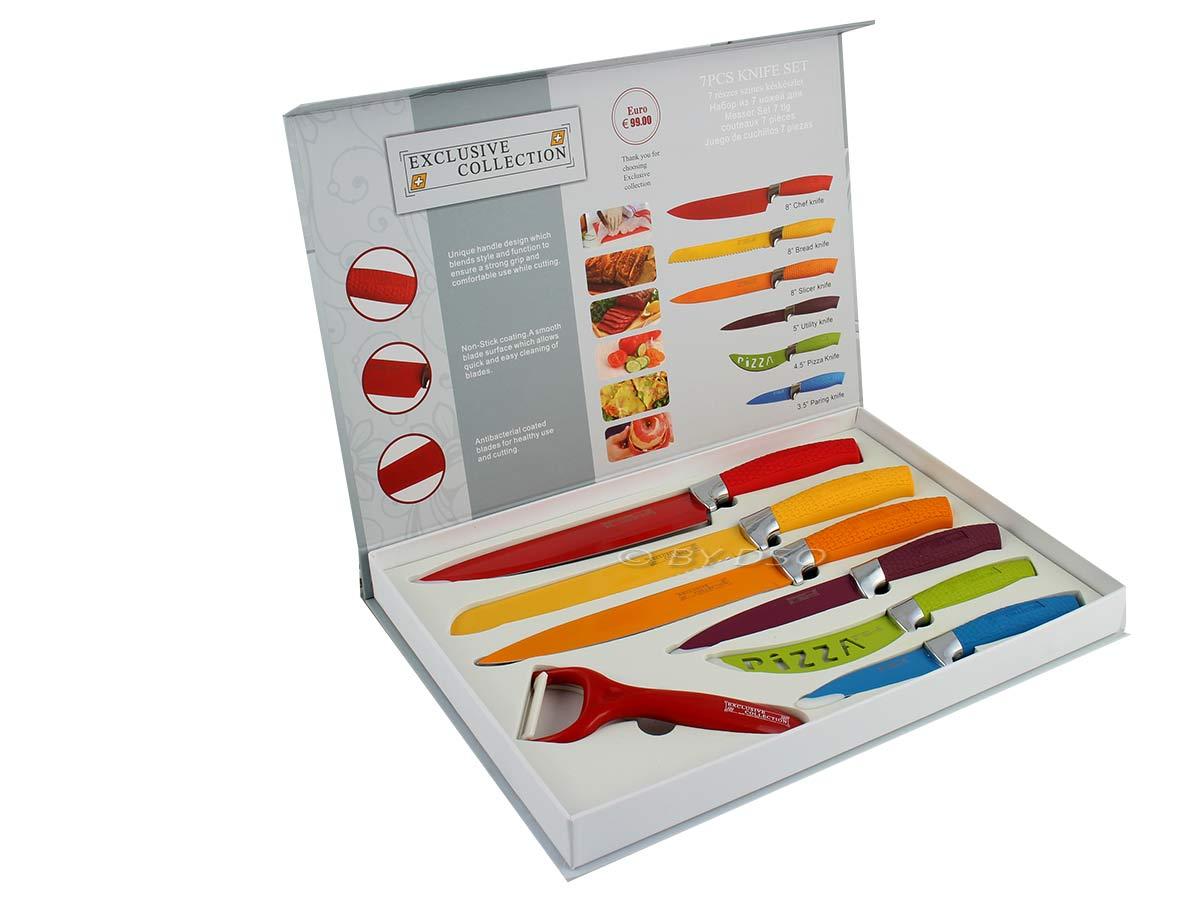 7 Pc Multi Colour Waltmann Und Sohn Kitchen Knife Set With Rubber Handles  14019c Multi. Uncategorized Coloured ...