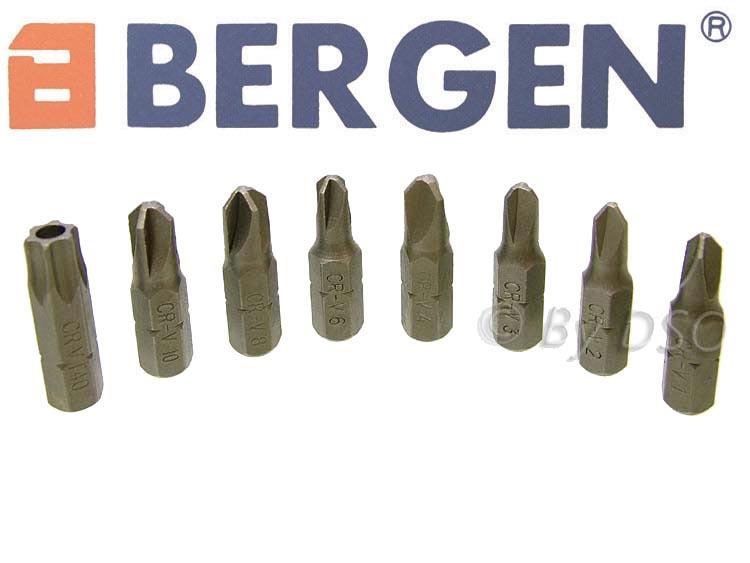 Bergen 33pc Chrome Vanadium Tamper Proof Security Bit Set Hex Allen