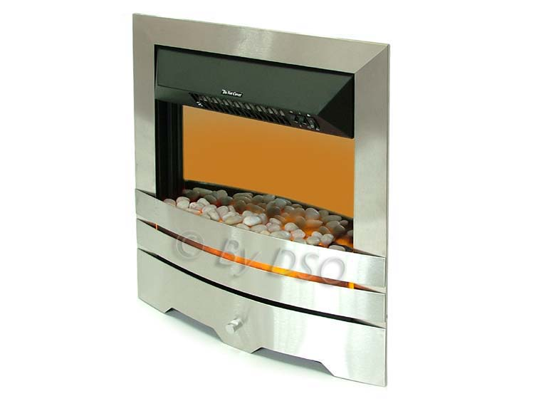 2000w Stylish Modern Brushed Stainless Steel Electric Fireplace Freestanding New Ebay