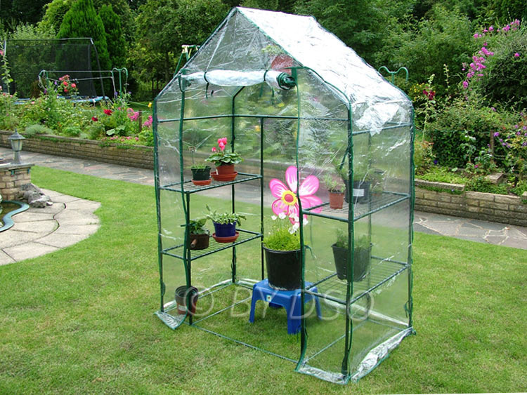 Wilko walk in pe greenhouse with cover and shelf staging h190 x.