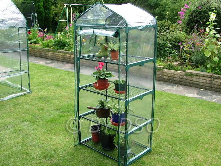 Green blade outdoor indoor 4 tier mini greenhouse gh301 for Build indoor greenhouse