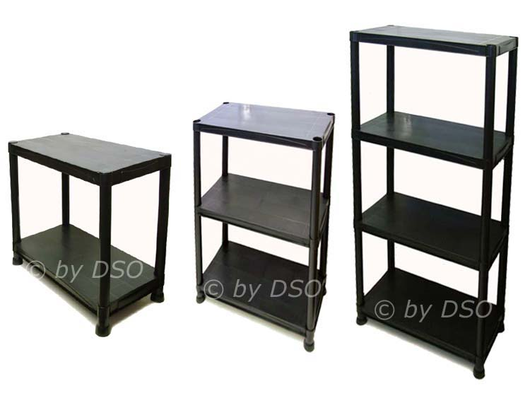 new 4 x 4 tier black plastic racking shelving shelves rack. Black Bedroom Furniture Sets. Home Design Ideas