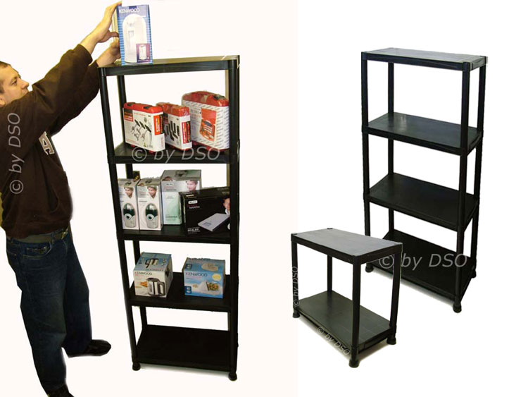 4 Tier Black Plastic Shelving Storage Unit 80kgs SU101