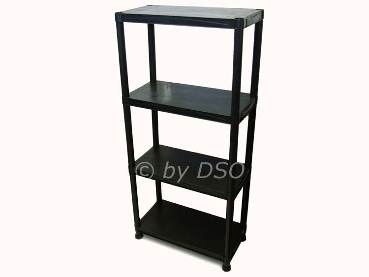 4 tier black plastic shelves shelving garage office. Black Bedroom Furniture Sets. Home Design Ideas