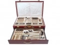 Waltmann und Sohn 95 Piece Chelsea Cutlery Set in Gloss Finish Mahogany Wood Effect Canteen Case - Inner Tray/Case Damaged 14147C-RTN1 (DO NOT LIST) *Out of Stock*