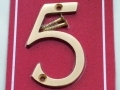 Securit Highly Polished Brass 3 Door/Gate Numerals 5 S2505