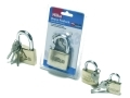 Hilka Heavy Duty Solid Brass Padlock Pro Craft 50mm Fully Hardened Shackle with 3 Keys HIL70700050