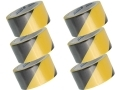 6 Pack 15 Meters PVC Hazard Warning Tape 48 mm Wide 72077C *Out of Stock*