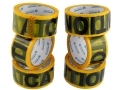 6 Pack 50 Meters Caution Warning Tape 48 mm Wide 72082C