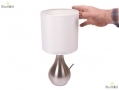 Anika Barletta Satin Nickel Touch Lamp with Cream Fabric Shade BML36310 *Out of Stock*