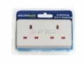 Lectrolite 2-Way European Travel Adaptor 2 Pin Euro Style to Double 3 Pin UK Socket BML41020 *Out of Stock*