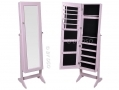 White Wooden Mirror Jewellery Wardrobe 2 In 1 146 x 36 x 40 cm BML62080