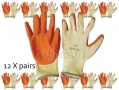 "12 pack 9"" Non-slip Fleece and Latex Dipped Builders Gloves Medium GL009"