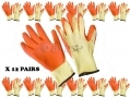 "12 pack 11"" Non-slip Fleece and Latex Dipped Builders Gloves Extra Large GL022 *Out of Stock*"