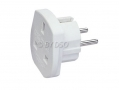 3-Way European Travel Adaptor 2 Pin Euro Style To Triple 3 Pin UK socket  OM21104L