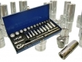 "Professional 28 Piece 3/8"" Dr. Metric Single Hex Point Posi Drive Socket Set in Metal Case SS036 *Out of Stock*"